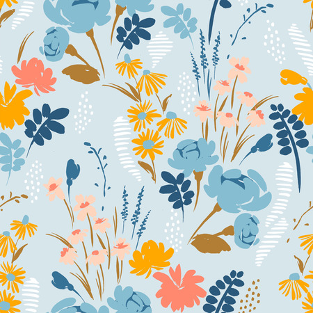 Floral abstract seamless pattern. Vector design for paper, cover, fabric, interior decor and other users Vettoriali