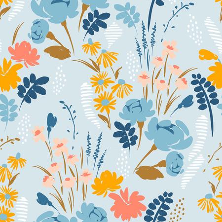 Patrón transparente abstracto floral. Diseño vectorial para papel, cubierta, tela, decoración de interiores y otros usuarios.