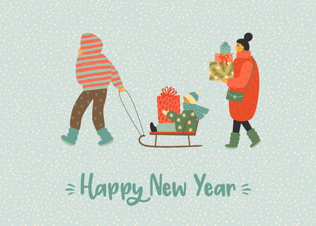 Christmas and Happy New Year illustration whit people. Trendy retro style.