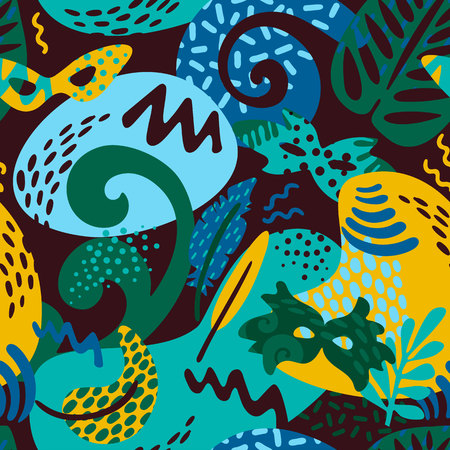 Brazil carnival. Vector seamless pattern with trendy abstract elements. Design for carnival concept and other users