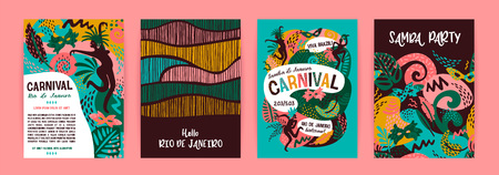 Brazil carnival. Vector templates with trendy abstract elements. Poster design for carnival concept and other users 版權商用圖片 - 127721257