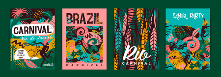 Brazil carnival. Vector templates with trendy abstract elements. Poster design for carnival concept and other users 版權商用圖片 - 127721258