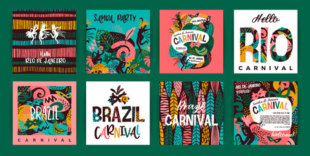 Brazil carnival. Vector templates with trendy abstract elements. Poster design for carnival concept and other users 版權商用圖片 - 127698069