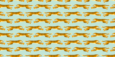 Seamless exotic pattern with tigers. Vector hand draw design.