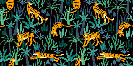 Seamless exotic pattern with tigers in the jungle. Vector hand draw design. Ilustração
