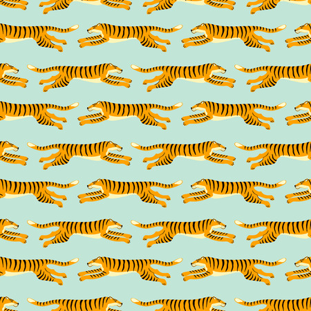 Seamless exotic pattern with tigers. Vector hand draw design. 版權商用圖片 - 127527801