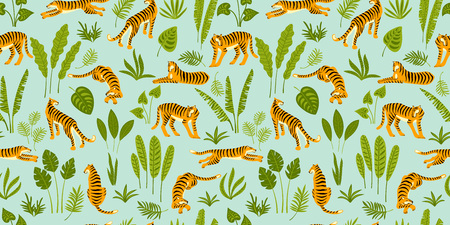 Seamless exotic pattern with tigers in the jungle. Vector hand draw design. 版權商用圖片 - 127527802