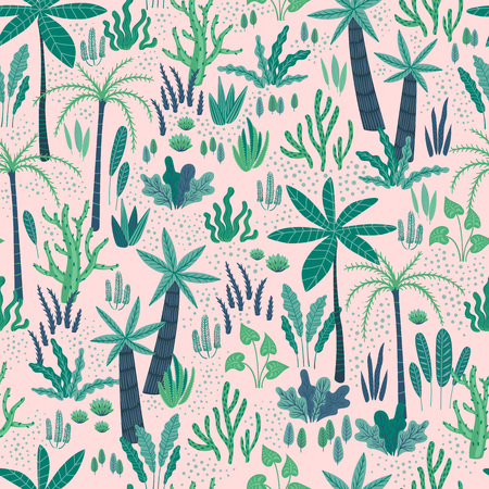 Seamless pattern with abstract tropical plants. Vector design template. Ilustração