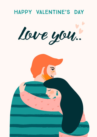 Romantic illustration with people. Love, love story, relationship. Vector design concept for Valentines Day and other users. Ilustração