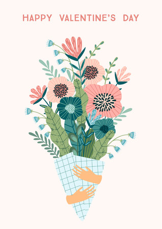 Illustration bouquet of flowers. Vector design concept for Valentines Day and other users.