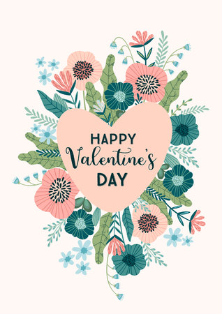 Floral design concept for Valentines Day and other users. Flower illustration. Ilustracja