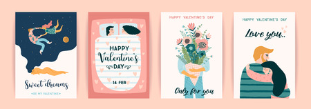 Romantic set of cute illustration. Love, love story, relationship. Vector design concept for Valentines Day and other users.