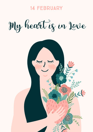 Romantic illustration with woman. Love, love story, relationship. Vector design concept for Valentines Day and other users.