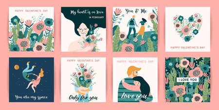 Romantic set of cute illustrations. Love, love story, relationship. Vector design concept for Valentines Day and other users. 向量圖像