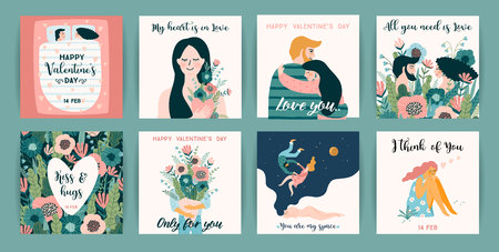 Romantic set of cute illustrations. Love, love story, relationship. Vector design concept for Valentines Day and other users. Ilustração