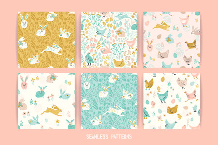 Vector seamless patterns with bunnies and chicken for Easter and other users. Design element. 向量圖像