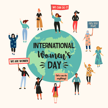 International Womens Day. Vector illustration with women different nationalities and cultures. Struggle for freedom, independence, equality. 向量圖像
