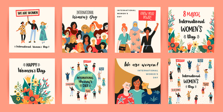 International Womens Day. Vector templates with women different nationalities and cultures. Struggle for freedom, independence, equality. 向量圖像