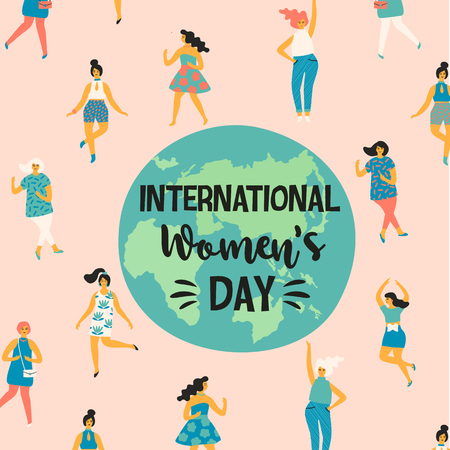 International Womens Day. Vector illustration with dancing women for card, poster, flyer and other users. 向量圖像