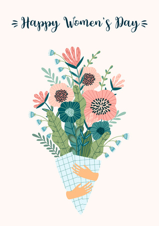 International Women s Day. Vector template with bouquet of flowers for card, poster, flyer and other users