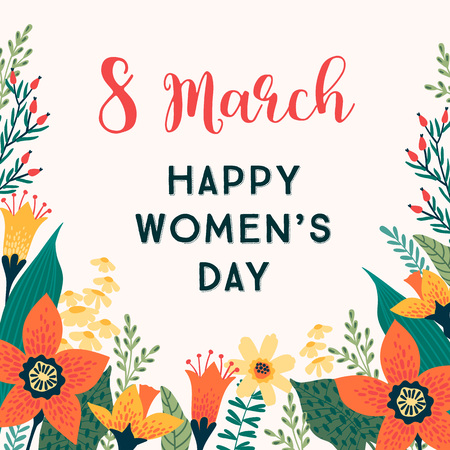 International Women s Day. Vector template with flowers for card, poster, flyer and other users