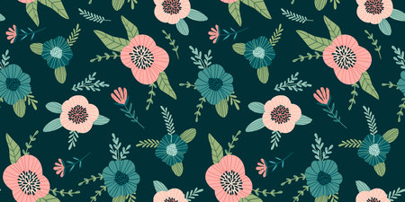 Floral abstract seamless pattern. Vector design for paper, cover, fabric, interior decor and other users 向量圖像