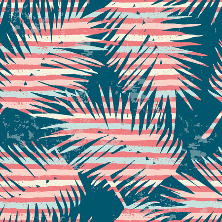 Seamless exotic pattern with tropical plants and stripes background. Modern abstract design for paper, cover, fabric, interior decor and other users. 向量圖像