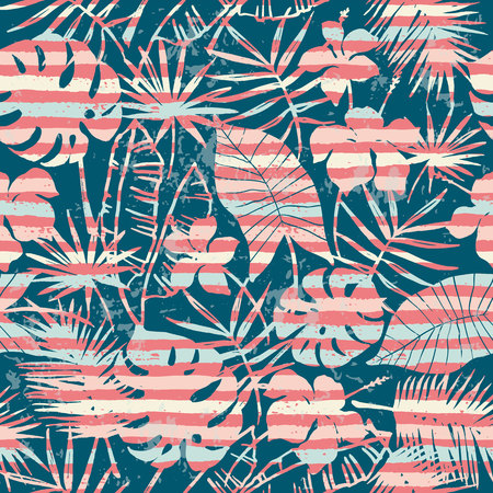 Seamless exotic pattern with tropical plants and stripes background. Modern abstract design for paper, cover, fabric, interior decor and other users. Vector Illustratie