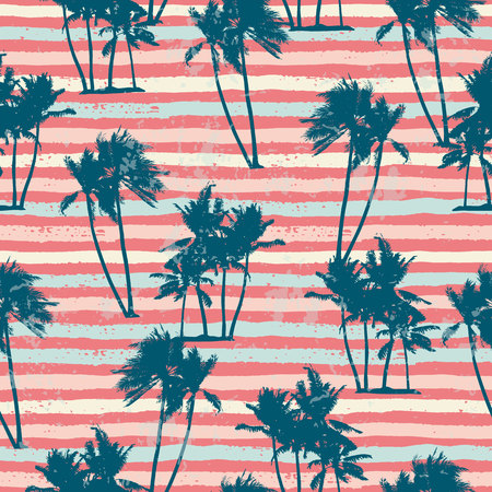 Seamless exotic pattern with tropical plants and stripes background. Modern abstract design for paper, cover, fabric, interior decor and other users. Illusztráció