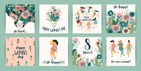 International Women s Day. Vector templates with cute women for card, poster, flyer and other users 向量圖像