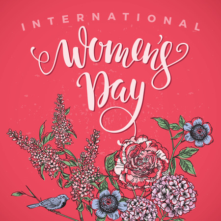 International Womens Day. Lettering design with flowers for Banners, Flyers, Placards, Posters and other use. Vector illustration