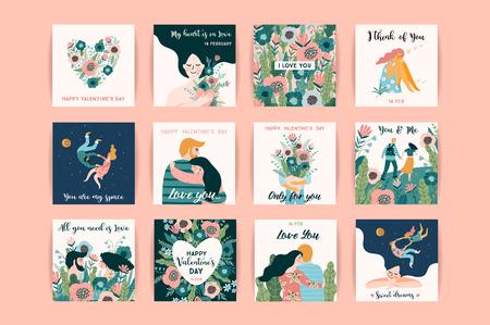 Romantische Reihe von süßen Illustrationen. Liebe, Liebesgeschichte, Beziehung. Vektordesignkonzept für Valentinstag und andere Benutzer.