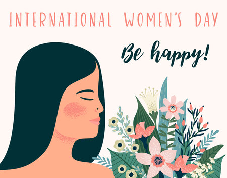 International Women s Day. Vector template with metis woman and flowers for card, poster, flyer and other users Illustration
