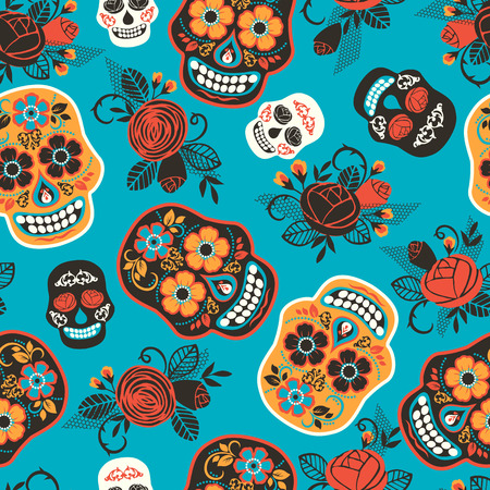 Dia de los muertos. Day of The Dead. Seamless pattern. Vector template. 矢量图像