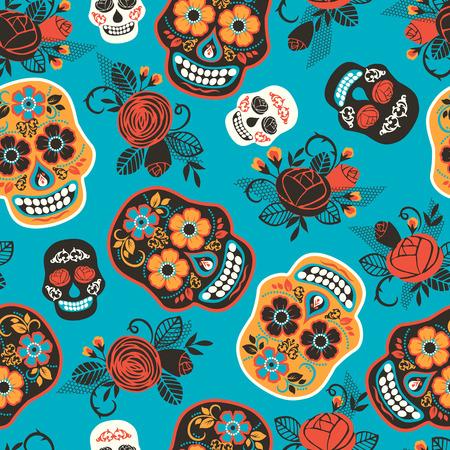 Dia de los muertos. Tag der Toten. Nahtloses Muster. Vektor-Vorlage. Vektorgrafik