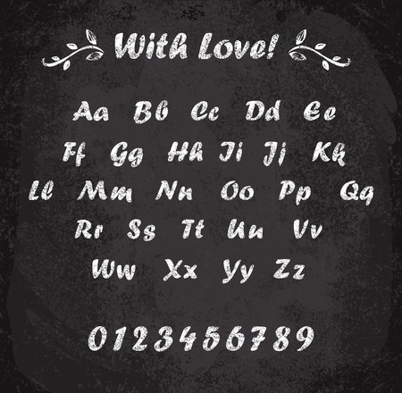 Ilustración de vector de alfabeto marcado con tiza. Textura de imitación de tiza. Elementos de diseño.