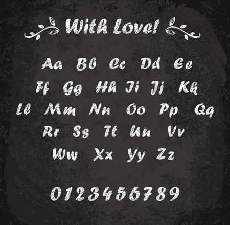 Ilustracja wektorowa alfabetu kredą. Imitacja tekstury kredy. Elementy wystroju.