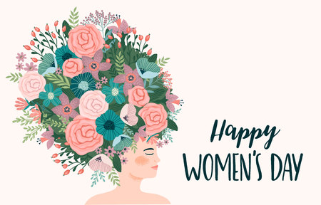 International Women s Day. Vector template with cute woman for card, poster, flyer and other users