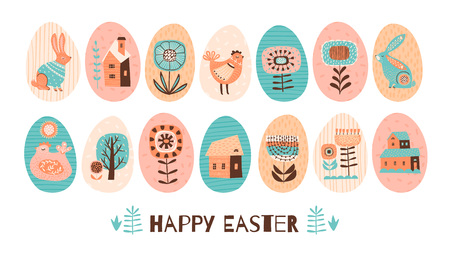 Happy Easter. Vector set of Easter eggs with holiday symbols. Design element.