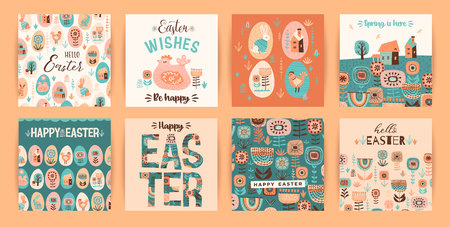 Happy Easter. Vector templates for card, poster, flyer and other users. Design element. Banco de Imagens - 124993729