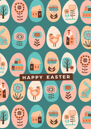 Happy Easter. Vector template for card, poster, flyer and other users. Design element.
