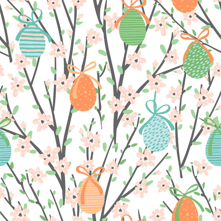 Vector seamless pattern with easter eggs and flowering branches. For Easter and other users. Design element.