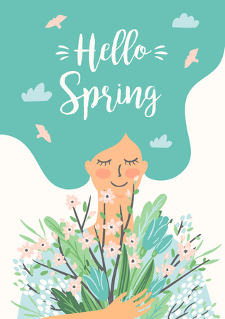 Vector illustration of woman with spring bouquet . Design for poster, card, invitation, placard, brochure, flyer and other