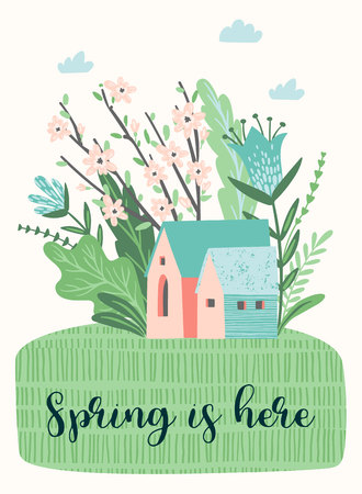 Cute illustration with spring landckape. Vector design for poster, card, invitation, placard, brochure, flyer and other 矢量图像