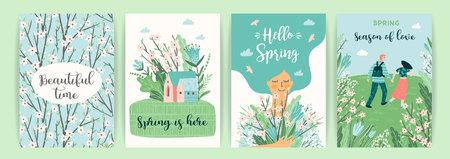 Set süße Illustrationen mit Menschen und Frühlingsnatur. Vectir-Design für Poster, Karten, Einladungen, Plakate, Broschüren, Flyer und andere
