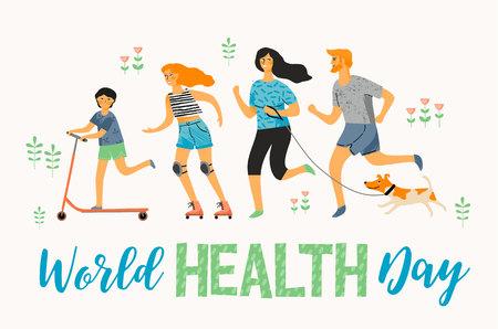 World Health Day. Healthy lifestyle. Sport family. Vector illustration Illustration