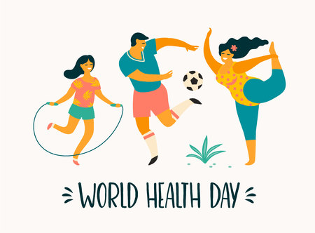 World Health Day. Healthy lifestyle. Sport family. Vector illustration.