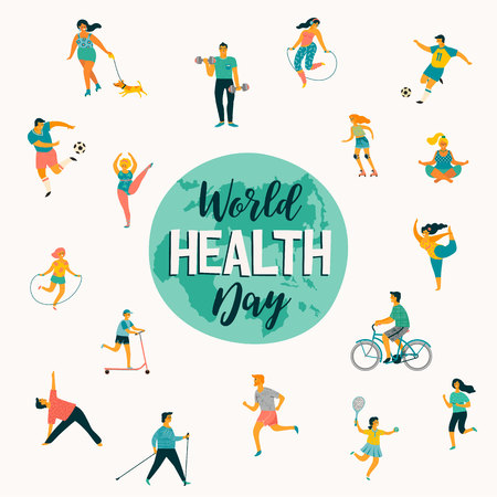 World Health Day. Vector illustration of people leading an active healthy lifestyle. Design element.