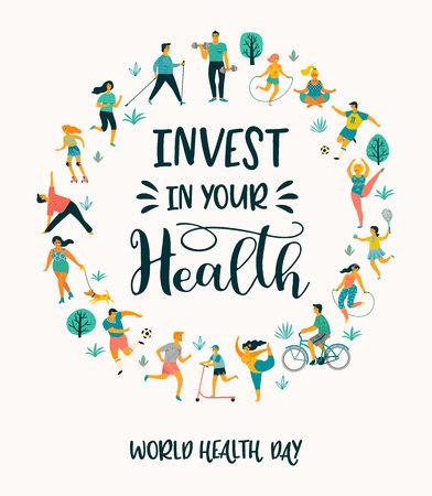 Día mundial de la salud. Ilustración de vector de personas que llevan un estilo de vida activo y saludable. Elemento de diseño. Ilustración de vector