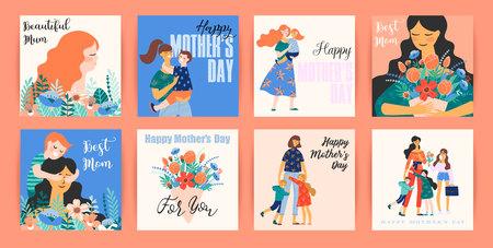 Gelukkige Moederdag. Vectorsjablonen met vrouwen en kinderen. Ontwerpelement voor kaart, poster, banner en ander gebruik.